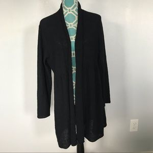 Eileen Fisher Long Wool Open Cardigan Sz L Black